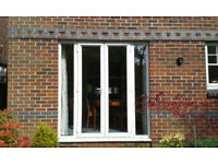 Double Glazed White UPVC Patio Doors and Side Panels. Very Good Condition