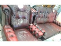 CHESTERFIELD 3 SEATER +CHAIR CAN DELIVER FREE