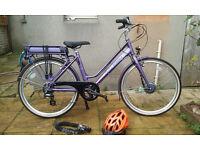 """USED ONCE: Raleigh Pioneer Electric Bike 26"""" (RRP £1,400), Heavy Duty Lock AND Helmet"""
