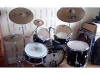 5-Piece CB Drum Kit + assorted percussion (Stagg DX Cymbals, Stagg Splash, Pearl & Tycoon Cowbells)