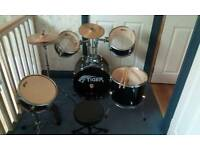 Tiger junior 5 piece drum kit in black. Ideal Christmas present.