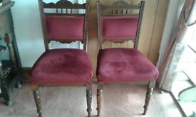 3 x Old wooden dining chairs with red velvet seats