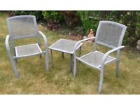 SMALL GARDEN TABLE & 2 ARMCHAIRS. COATED STEEL MESH