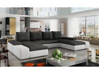 Sanmarino leather & fabric corner U -shape sofa bed storage black grey white Narożnik funkcja spania