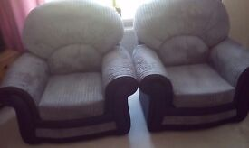 2 X armchairs grey & black as new condition reduced from £100 to£75 for quick sale