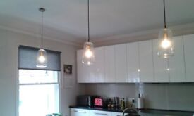 3 Glass Kitchen Island Lights complete with long life bulbs worth £15