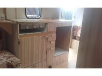 Caravan £350 with full awning bunk beds one end double other end old caravan but well looked after