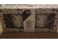 NEW Boxed Pair of V&A Mayoux Toile Mugs Blue Floral Design