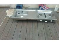 Campervan double gas burner with sink