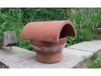 Chimney clay hood top roof flue