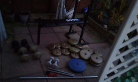 Heavy duty weight bench + weights. sensible offers considered