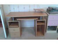 Light wood computer desk