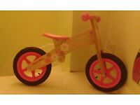 Girls wooden apollo balance bike brand new never been used.