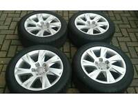 "GENUINE AUDI 17"" ALLOY WHEELS 7MM BRIDGESTONE TYRES 5X112 PASSAT B5 A6 A7 VW GOLF T4 SKODA SEAT"