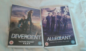 DIVERGENT AND ALLEGIANT DVDS £ 7.00 FOR THE PAIR