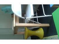 Yellow Habitat Tam Tam Stool/ MacAdam White Folding Chairs