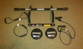 pull up bar with push up stands and 3 rubber exercise bands