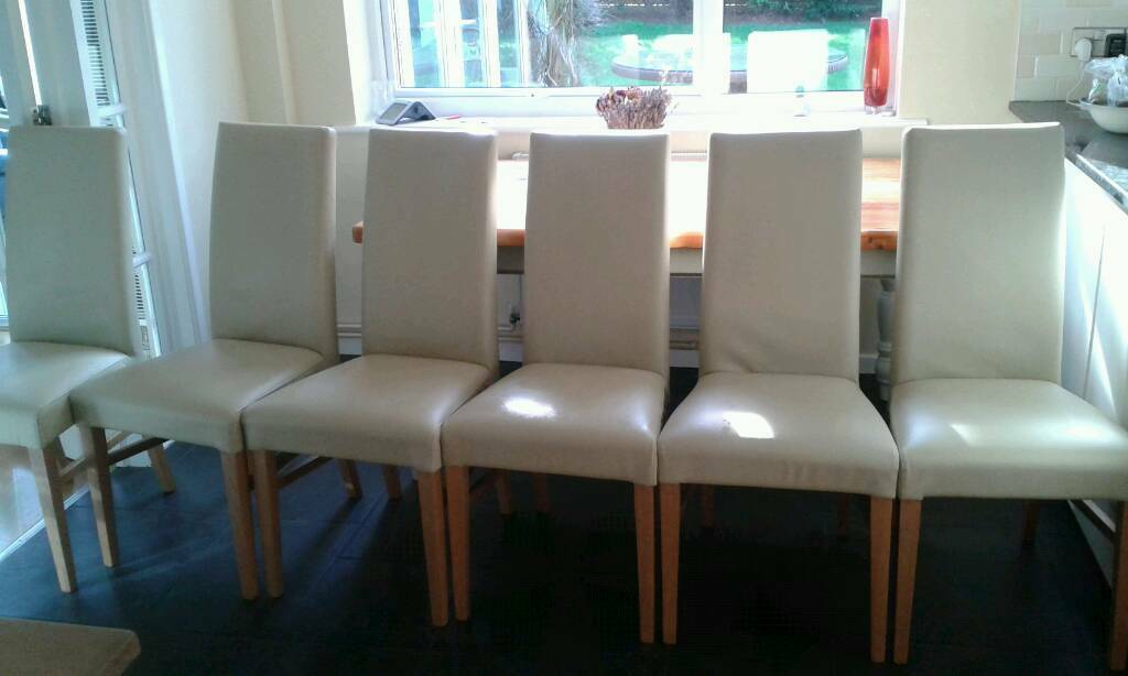 6 X John Lewis Cream Italian Leather Vanessa Dining Chair Set Would Be 900
