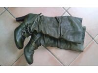 Ladies knee length, khaki green leather, high heel boots, size 6