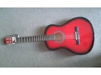 red acoustic guitar