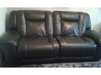 Black Leather 3 Seater Recliner Sofa. DFS