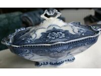 Rare f. Douglas & Sons Blue Willow China Serving Dish