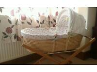 Wicker Moses Basket by M&S complete with stand