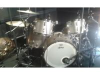 Ludwig classic 70's vintage maple shell kit, silver sparkle,blue and olive badge.