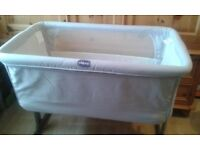 Chicco 'next to me' bedside cot/crib grey/silver 'next 2 me' cot/crib