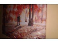 Autumn Walk - large oil painting canvas