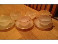 A Set of 6 Vintage Arcopal France Opalescent Glass Tea/Coffee Cups – 3 with saucers/1960s