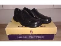 Black Leather Hush Puppies Uk Size 6 EU 40 US 7 Slip on design