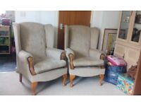 Two small wing back chairs