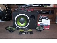 Fusion sub and amp with speakers and sony cdx car stereo