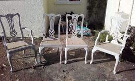 FOUR SOLID WOOD DINING CHAIRS. (collect axminster) £40
