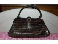 Mock Croc Brown Handbag