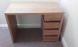 Small, 4drawer desk, solid wood, beech finish