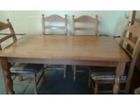 Solid Pine Dining Table & Four Chairs