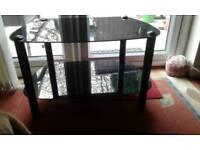 Black glass tv table,