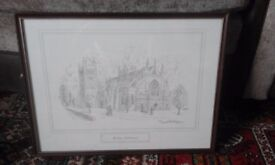 framed and glazed pencil sketch of Exeter Cathedral, by David Hawker