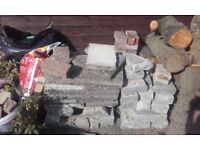 Assortment of slabs, blue lias stone and some red block paving