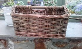 Vintage wicker bottle carrier/planter