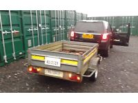 Galvanized 2 wheel large car / van trailer with tipping mechanism about 4ft6in wide and 6ft long