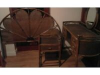 Vintage/Rattan Dressing Table with matching bedside cabinet and headboard