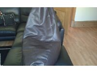 Leather bean bag new hardly used With back rest