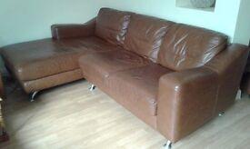 Leather Corner Sofa - Chestnut Brown