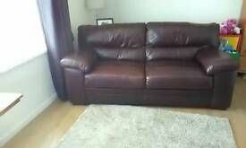 Brown leather 3seater sofa