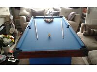 """American style pool table. 6' x3' x 2'7"""" (H)."""