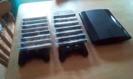 PS3, 2 controllers and 15 games