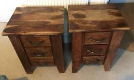 Solid French Oak Bedside Tables (pair)